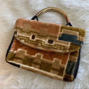 Vintage 1970s Cara mini purse terry cloth retro